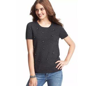 LOFT~Charcoal Jewel Embellished Sweater Tee~M
